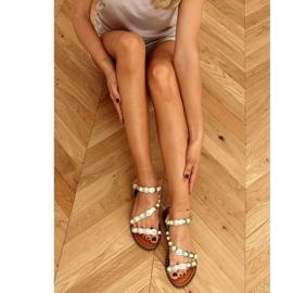 Sandałki z perełkami złote 55-55 Gold złoty 2