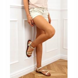 Sandałki z perełkami złote 55-55 Gold złoty 3