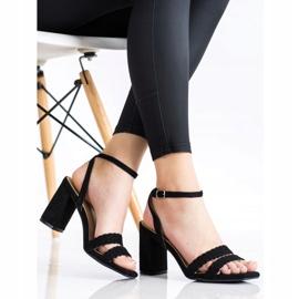 Kylie Zamszowe Sandałki Na Słupku czarne 4