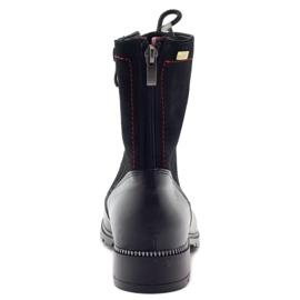 Botki damskie glany Kazkobut 2809 czarne czerwone 3