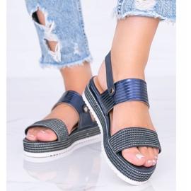 Granatowe sandały na grubej podeszwie Senorita 1