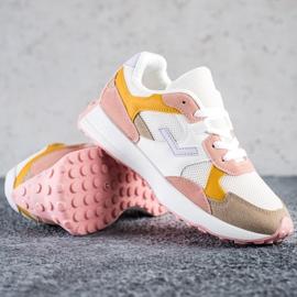 SHELOVET Kolorowe Sneakersy białe wielokolorowe 3