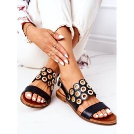 Skórzane Ażurowe Sandały Lewski Shoes 3042 Czarne 4
