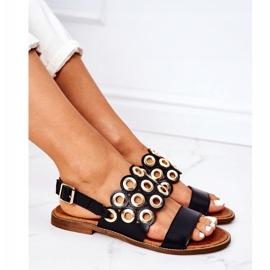 Skórzane Ażurowe Sandały Lewski Shoes 3042 Czarne 5