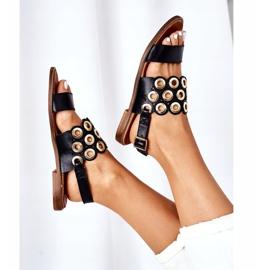 Skórzane Ażurowe Sandały Lewski Shoes 3042 Czarne 1