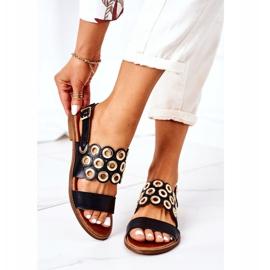 Skórzane Ażurowe Sandały Lewski Shoes 3042 Czarne 2