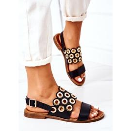 Skórzane Ażurowe Sandały Lewski Shoes 3042 Czarne 3