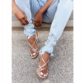 PS1 Wiązane Sandały Na Szpilce Z Kwadratowym Noskiem Srebrne Runway srebrny 1