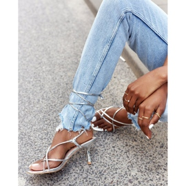 PS1 Wiązane Sandały Na Szpilce Z Kwadratowym Noskiem Srebrne Runway srebrny 2