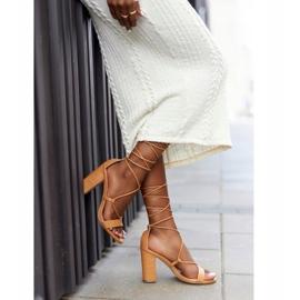 PS1 Wiązane Sandały Na Słupku Camel Catwalk brązowe 2