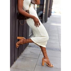 PS1 Wiązane Sandały Na Słupku Camel Catwalk brązowe 5