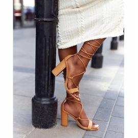 PS1 Wiązane Sandały Na Słupku Camel Catwalk brązowe 7