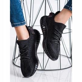 SHELOVET Tekstylne Sneakersy Na Platformie czarne 2