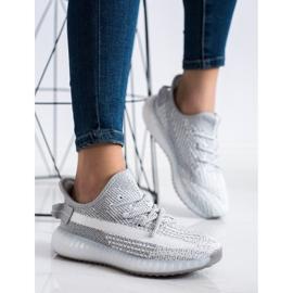 SHELOVET Tekstylne Sneakersy Na Platformie srebrny szare 2