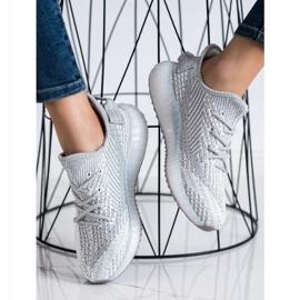 SHELOVET Tekstylne Sneakersy Na Platformie srebrny szare 3