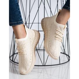 SHELOVET Beżowe Tekstylne Sneakersy beżowy 3