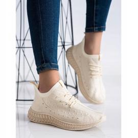 SHELOVET Beżowe Tekstylne Sneakersy beżowy 2