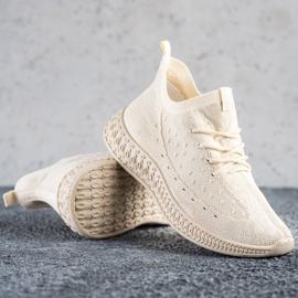 SHELOVET Beżowe Tekstylne Sneakersy beżowy 1
