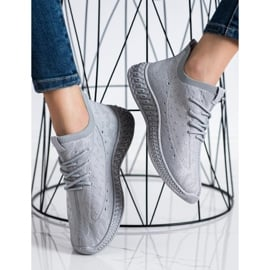 SHELOVET Szare Tekstylne Sneakersy 3