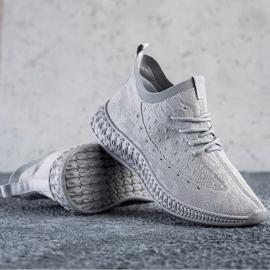 SHELOVET Szare Tekstylne Sneakersy 2