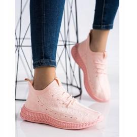 SHELOVET Różowe Tekstylne Sneakersy 2