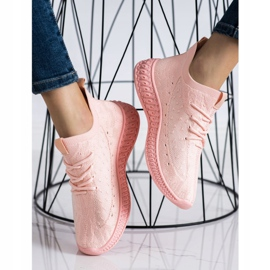 SHELOVET Różowe Tekstylne Sneakersy 3