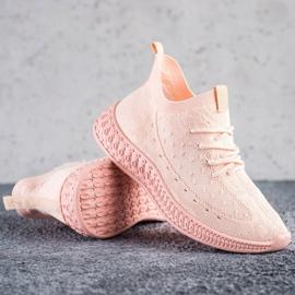 SHELOVET Różowe Tekstylne Sneakersy 1