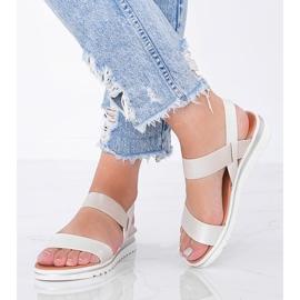 Beżowe sandały na grubej podeszwie Cro beżowy 1