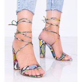 Kolorowe sandały wiązane w motywie skóry węża Veni czarne wielokolorowe 1