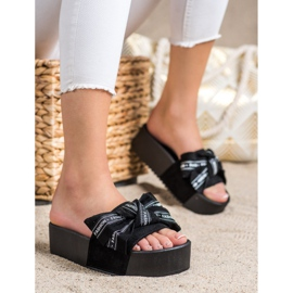 SHELOVET Klapki Z Kokardą Fashion czarne 1