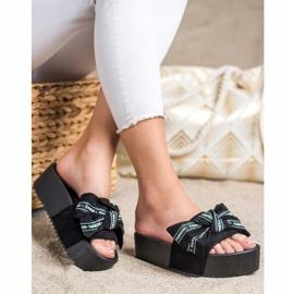 SHELOVET Klapki Z Kokardą Fashion czarne 3