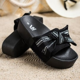 SHELOVET Klapki Z Kokardą Fashion czarne 2