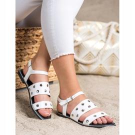 Goodin Białe Sandały Z Dżetami 4