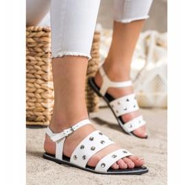 Goodin Białe Sandały Z Dżetami 2