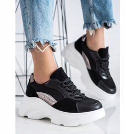 Seastar Czarne Sneakersy Na Platformie 3