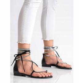Seastar Wiązane Sandały Z Cyrkoniami czarne 3