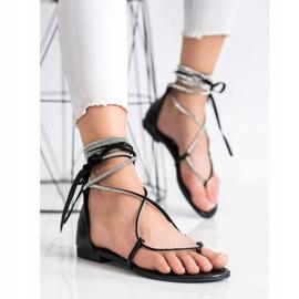 Seastar Wiązane Sandały Z Cyrkoniami czarne 1