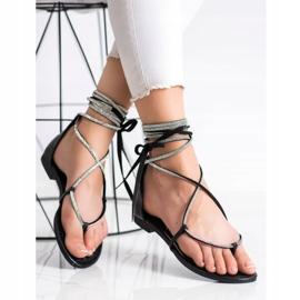 Seastar Wiązane Sandały Z Cyrkoniami czarne 2