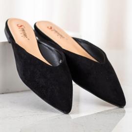 Seastar Zamszowe Klapki W Szpic czarne 3