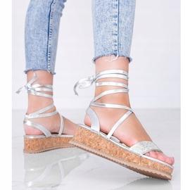 Srebrne sandały wiązane z cyrkoniami Ves srebrny 1