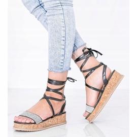 Czarne sandały wiązane z cyrkoniami Ves 1