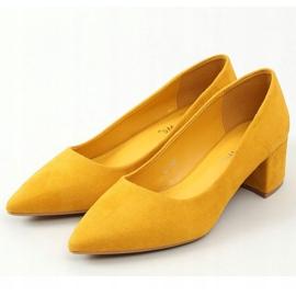 Czółenka na niskim obcasie miodowe LL81 Yellow żółte 1