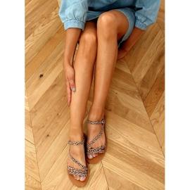 Sandałki damskie w kropki BH1651-SD Beige beżowy 2
