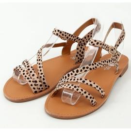 Sandałki damskie w kropki BH1651-SD Beige beżowy 1