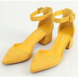 Czółenka na szerokim obcasie miodowe LL76 Yellow żółte 1