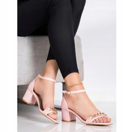 SHELOVET Sandały Z Ozdobnym Łańcuchem różowe 3
