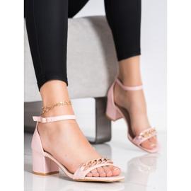 SHELOVET Sandały Z Ozdobnym Łańcuchem różowe 1