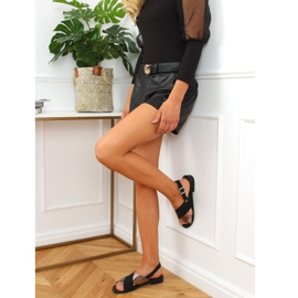 Sandałki damskie czarne S060117 Black srebrny 3