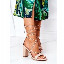 PS1 Wiązane Sandały Na Słupku Beżowe Catwalk beżowy 4