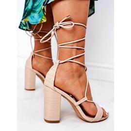 PS1 Wiązane Sandały Na Słupku Beżowe Catwalk beżowy 3